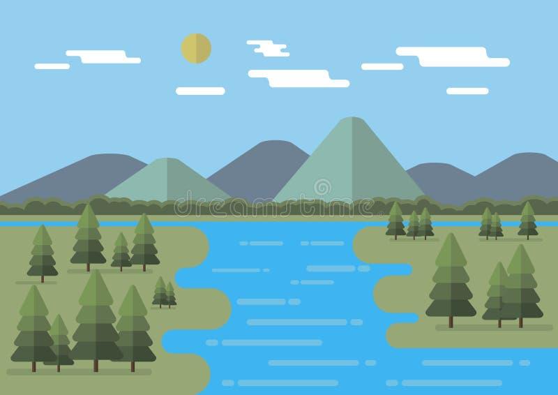 Ilustração lisa do vetor da paisagem com montanhas, as árvores, o sol e as nuvens lisos editable ilustração royalty free