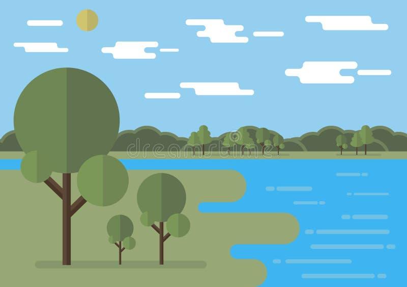 Ilustração lisa do vetor da paisagem com nuvens lisas, árvores lisas editable ilustração royalty free