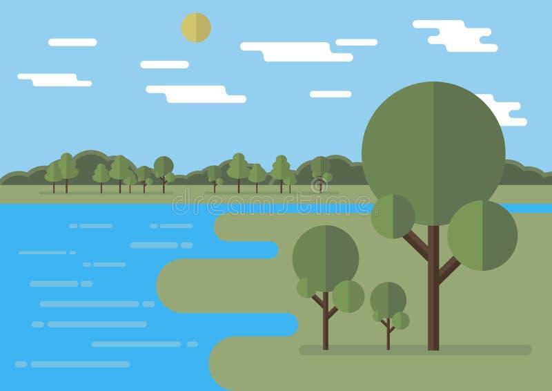 Ilustração lisa do vetor da paisagem com nuvens lisas, árvores lisas, sol liso editable ilustração royalty free
