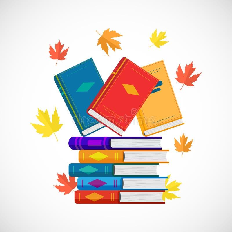 Ilustração lisa do vetor da pilha de livros com folhas de outono ilustração stock