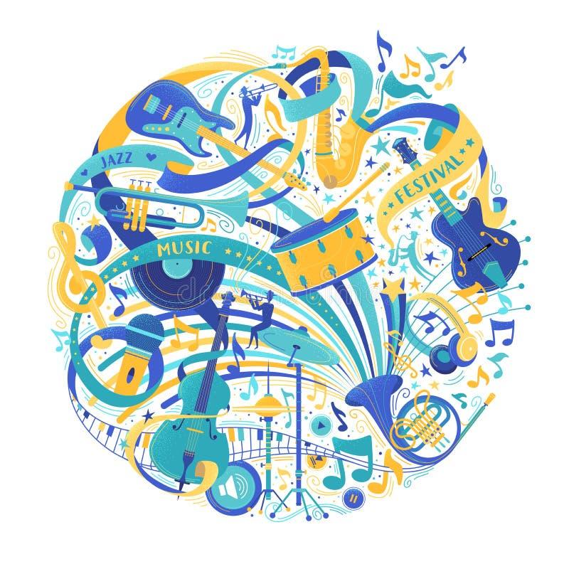Ilustração lisa do vetor da variedade da loja dos instrumentos musicais ilustração do vetor