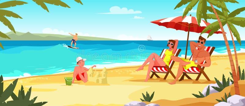 Ilustração lisa do vetor das férias de verão da família ilustração royalty free