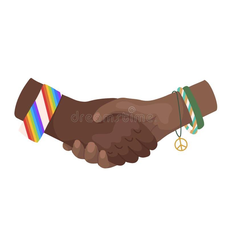 Ilustração lisa do vetor de agitar as mãos africanas com braceletes Dia internacional da amizade Unidade e reconhecimento moderno ilustração royalty free