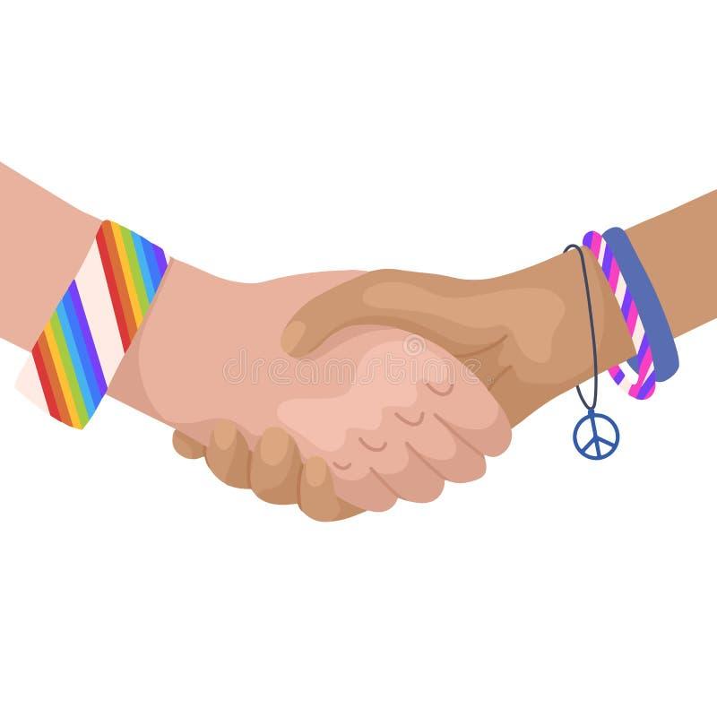Ilustração lisa do vetor de agitar as mãos com braceletes do arco-íris Dia internacional da amizade Unidade e reconhecimento mode ilustração do vetor