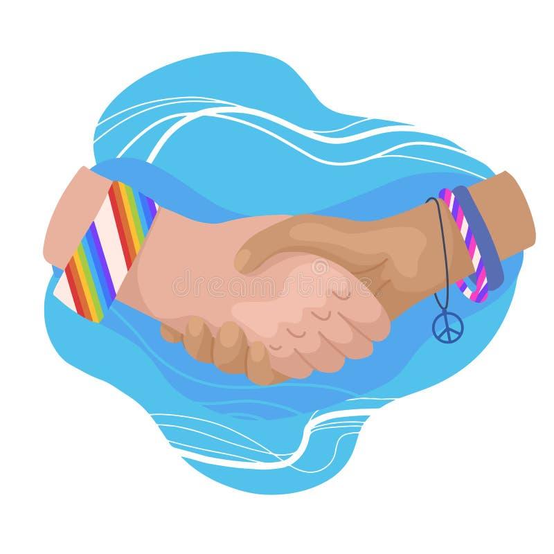 Ilustração lisa do vetor de agitar as mãos com quinquilharias e braceletes Dia internacional da amizade Unidade e reconhecimento ilustração stock