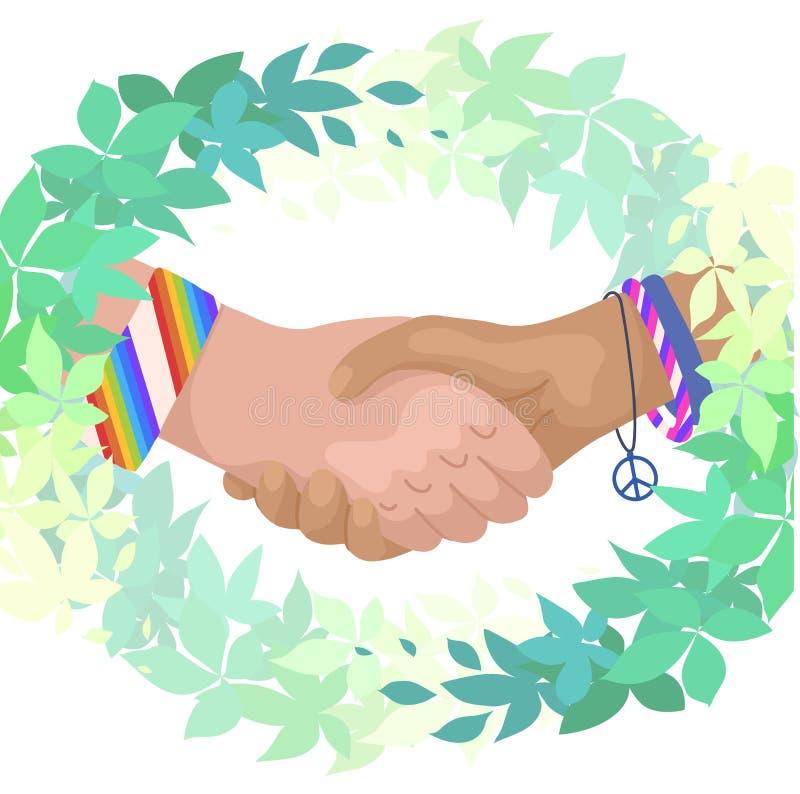 Ilustração lisa do vetor de agitar as mãos em ramos verdes das folhas Dia internacional da amizade Unidade e reconhecimento eco ilustração royalty free
