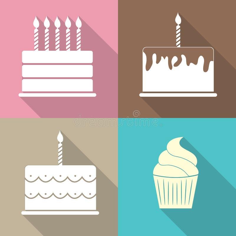 Ilustração lisa do vetor do ícone da Web do bolo de aniversário ilustração royalty free