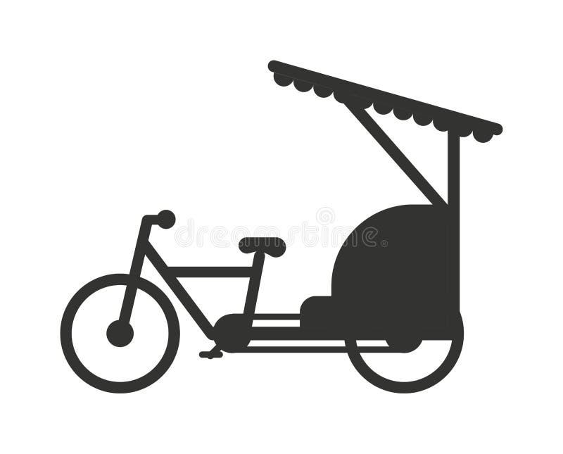Ilustração lisa do vetor do ícone do transporte do curso do táxi de Indonésia jakarta do riquexó ilustração royalty free