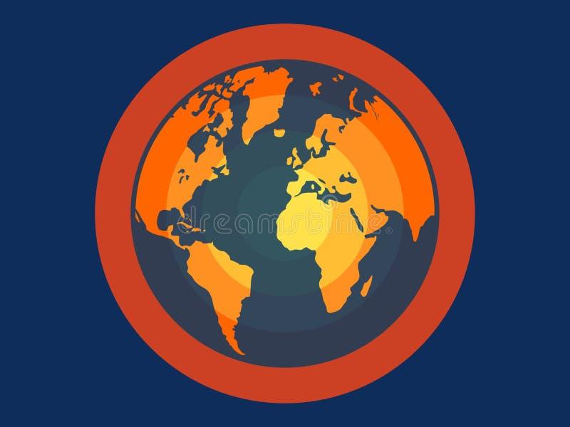 Ilustração lisa do vetor do aquecimento global para apps e Web site imagem de stock royalty free