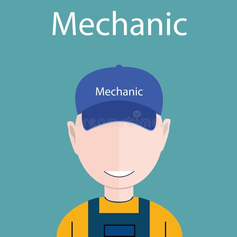 Ilustração lisa do vetor do avatar - ícone do mecânico ou do coordenador com o chapéu em sua cabeça, eps 10 ilustração stock