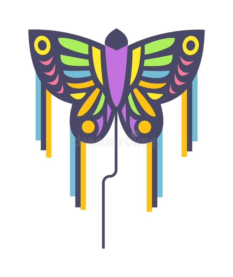 Ilustração lisa do vetor do brinquedo colorido pequeno do verão do vento do divertimento do papagaio dos peixes do arco-íris do v ilustração do vetor