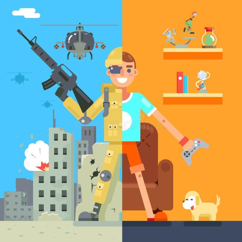 Ilustração lisa do vetor do caráter do projeto do campo de batalha da sala de visitas do ícone da realidade virtual da imersão do ilustração stock