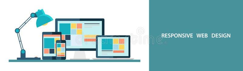 Ilustração lisa do vetor do design web responsivo como visto no monitor, no portátil, na tabuleta e no smartphone do desktop ilustração do vetor