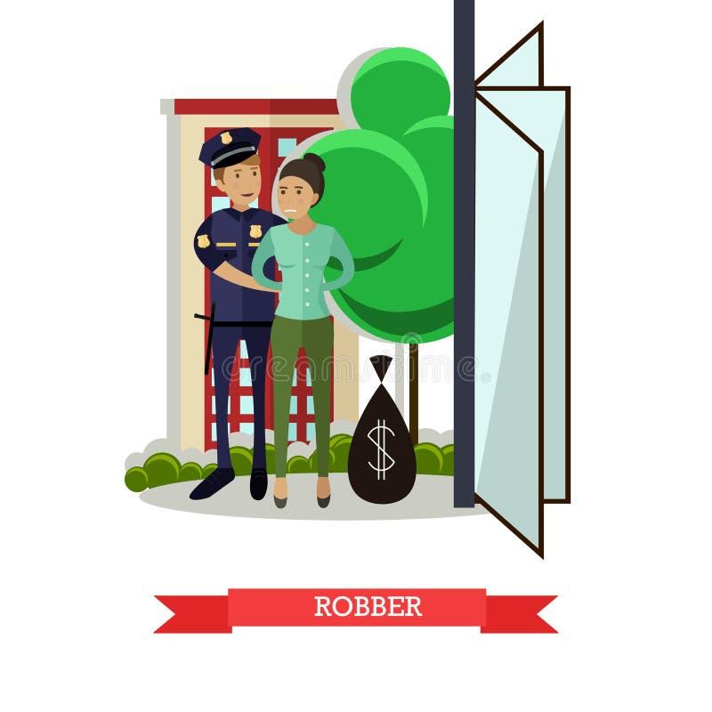 Ilustração lisa do vetor do ladrão de travamento do polícia ilustração stock