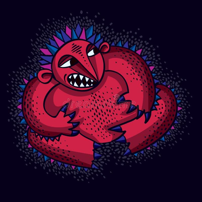 Ilustração lisa do vetor do monstro do caráter, mutan irritado vermelho bonito ilustração do vetor