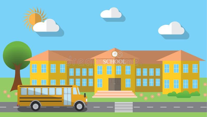 Ilustração lisa do vetor do projeto do prédio da escola e do ônibus escolar estacionado no estilo liso do projeto, ilustração do  ilustração do vetor
