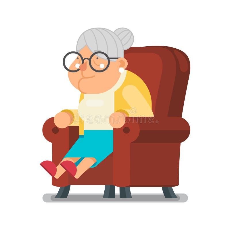 Ilustração lisa do vetor do projeto dos desenhos animados do caráter de Sit Rest Granny Old Lady ilustração stock