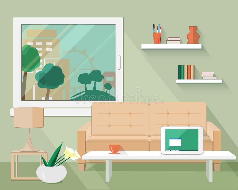 Ilustração lisa do vetor do projeto moderno da sala de visitas ilustração stock