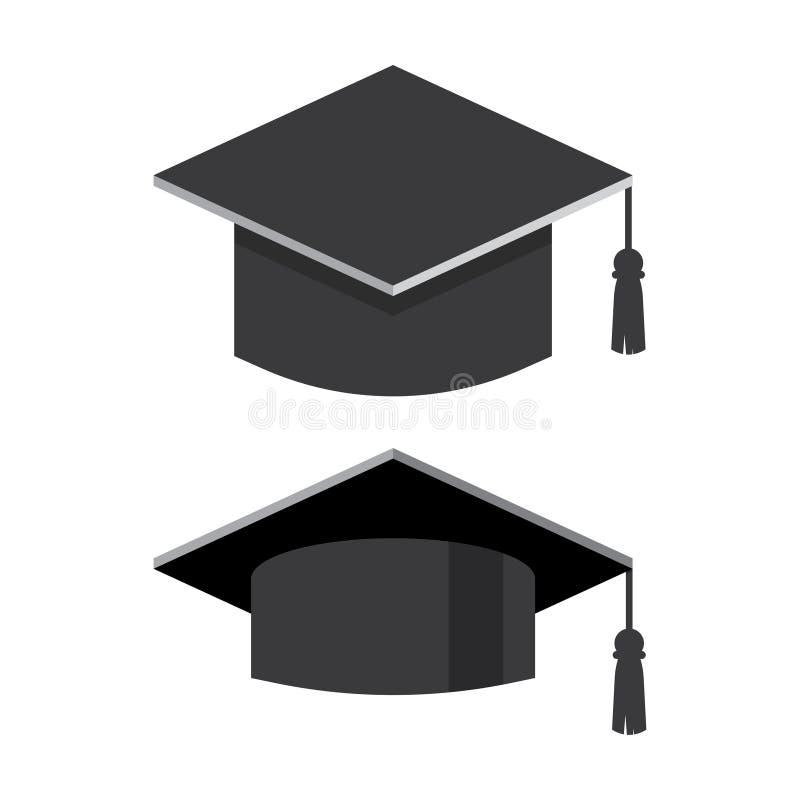 Ilustração lisa do vetor do tampão da graduação ilustração do vetor