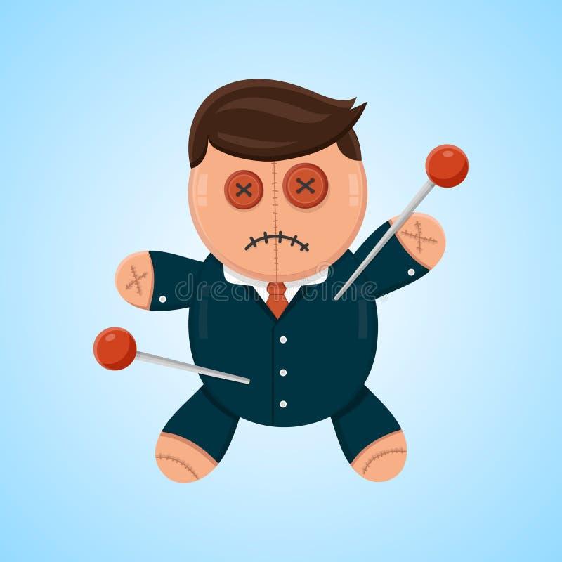 Ilustração lisa do vetor do vudu da boneca do homem de negócios ou do político Concorrente político ou do negócio ilustração do vetor