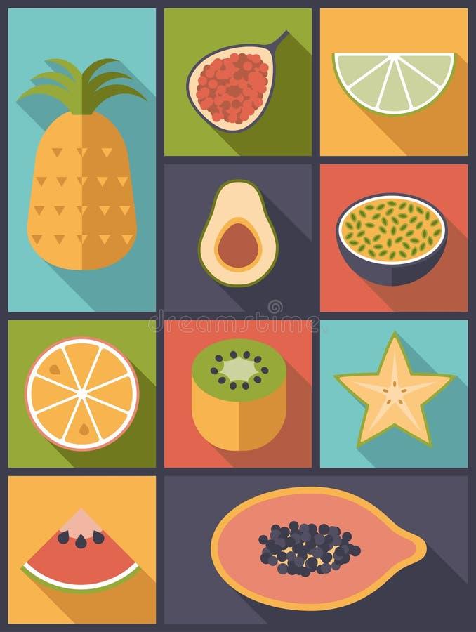 Ilustração lisa do vetor dos ícones do fruto tropical ilustração royalty free