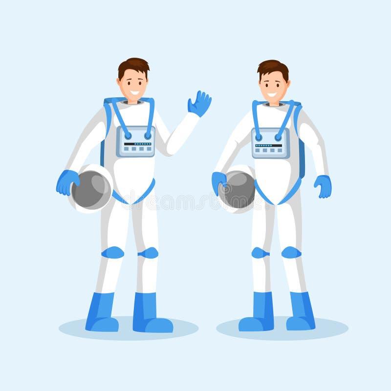 Ilustração lisa do vetor dos cosmonautas masculinos Equipe de sorriso dos astronautas, dois homens nos spacesuits que acenam a mã ilustração stock