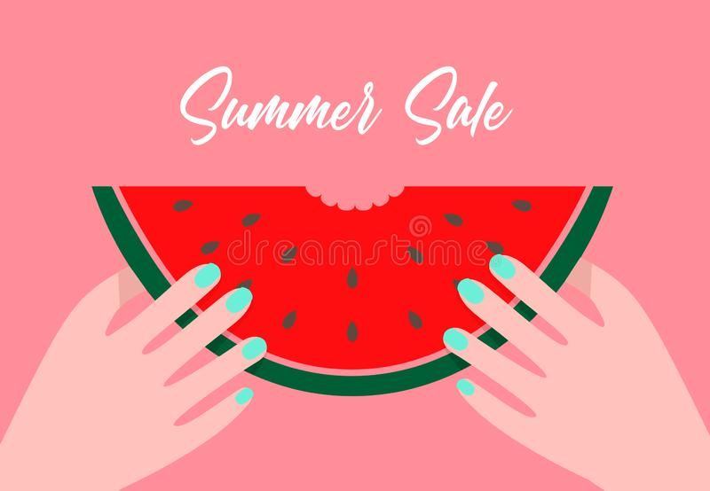 Ilustração lisa do vetor dos desenhos animados da venda do verão Realizar fora mordido da fatia da melancia nas mãos ilustração stock