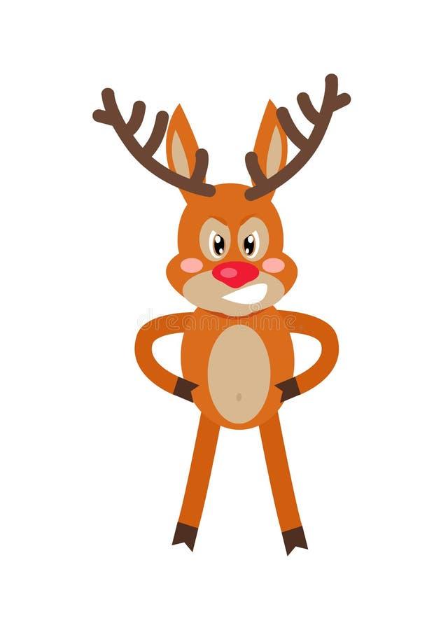 Ilustração lisa do vetor dos desenhos animados irritados dos cervos ilustração do vetor