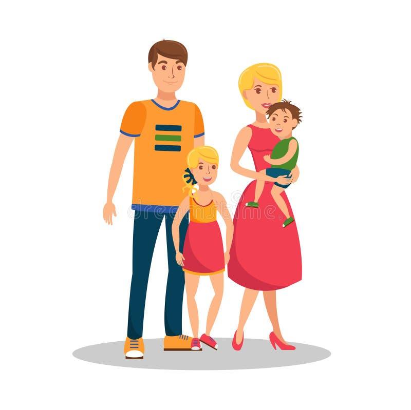 Ilustração lisa do vetor dos desenhos animados dos valores familiares ilustração do vetor