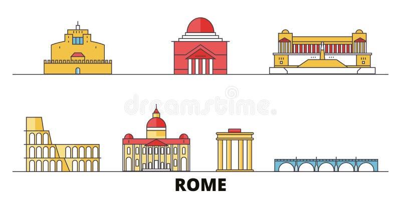 Ilustração lisa do vetor dos marcos da cidade de Itália, Roma Perímetro urbano cidade de Itália, Roma com vistas famosas do curso ilustração stock