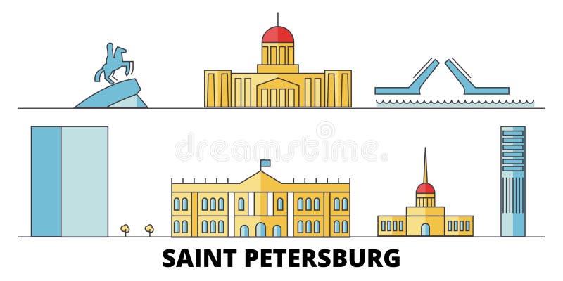 Ilustração lisa do vetor dos marcos da cidade de Rússia, St Petersburg Perímetro urbano cidade de Rússia, St Petersburg com famos ilustração stock