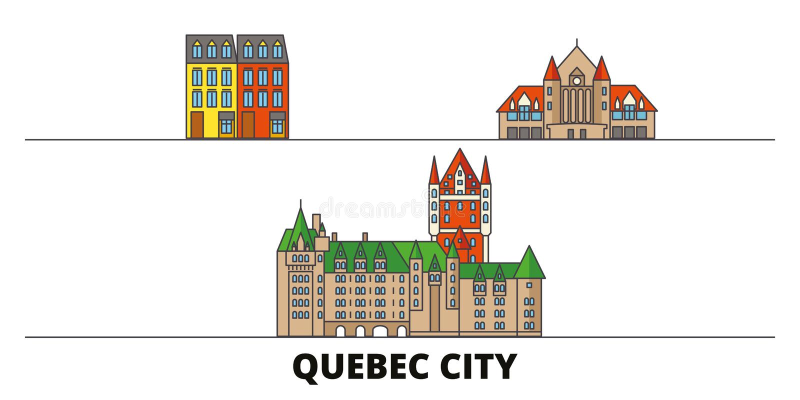 Ilustração lisa do vetor dos marcos de Canadá, Cidade de Quebec Linha cidade com vistas famosas do curso, skyline de Canadá, Cida ilustração do vetor