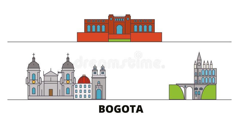Ilustração lisa do vetor dos marcos de Colômbia, Bogotá Linha cidade com vistas famosas do curso, skyline de Colômbia, Bogotá ilustração do vetor