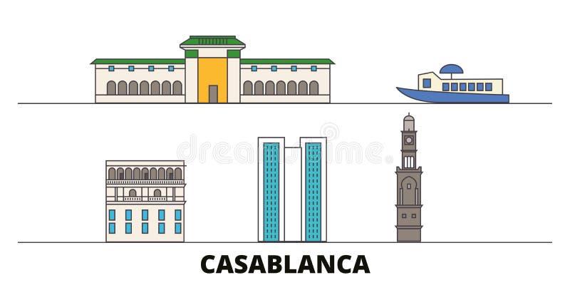 Ilustração lisa do vetor dos marcos de Marrocos, Casablanca Linha cidade com vistas famosas do curso, skyline de Marrocos, Casabl ilustração royalty free