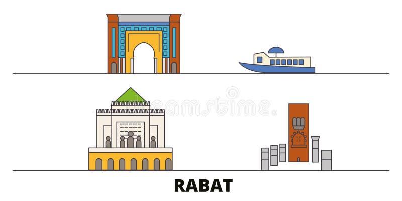 Ilustração lisa do vetor dos marcos de Marrocos, Rabat Linha cidade com vistas famosas do curso, skyline de Marrocos, Rabat, proj ilustração royalty free