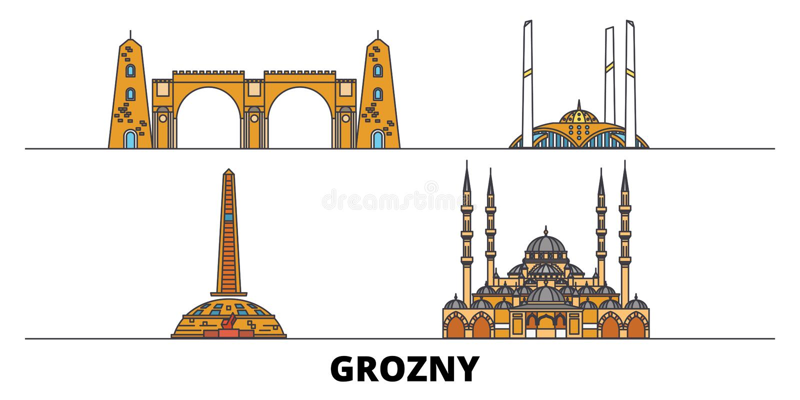 Ilustração lisa do vetor dos marcos de Rússia, Grozny Linha cidade com vistas famosas do curso, skyline de Rússia, Grozny, projet ilustração stock