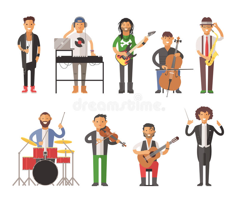 Ilustração lisa do vetor dos povos dos músicos ilustração do vetor