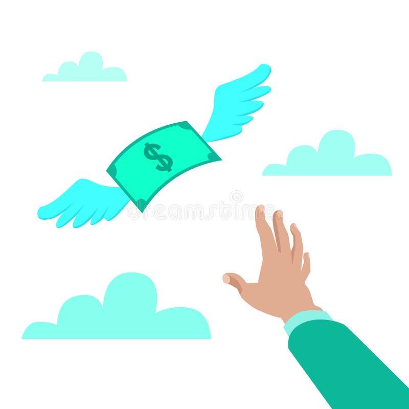 Ilustração lisa do vetor do estilo de uma mão que alcança para o papel moeda com o voo ausente, conceito das asas da perda ilustração do vetor