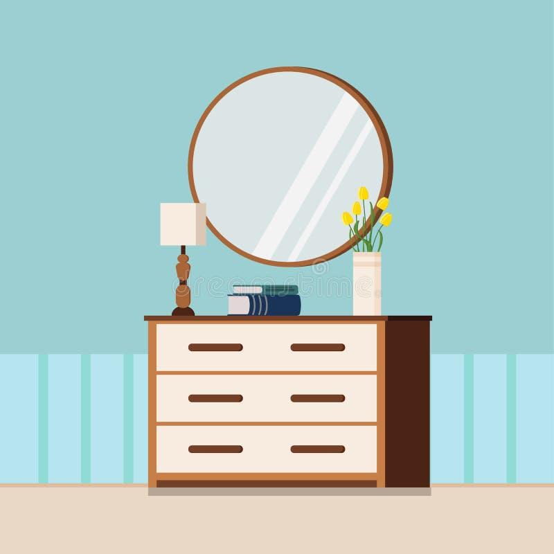 Ilustração lisa do vetor do estilo dos desenhos animados da mola acolhedor da casa ou do fundo interior do verão ilustração stock
