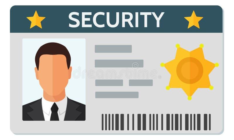 Ilustração lisa do vetor do estilo do molde do cartão da identificação do pessoal da segurança ilustração do vetor