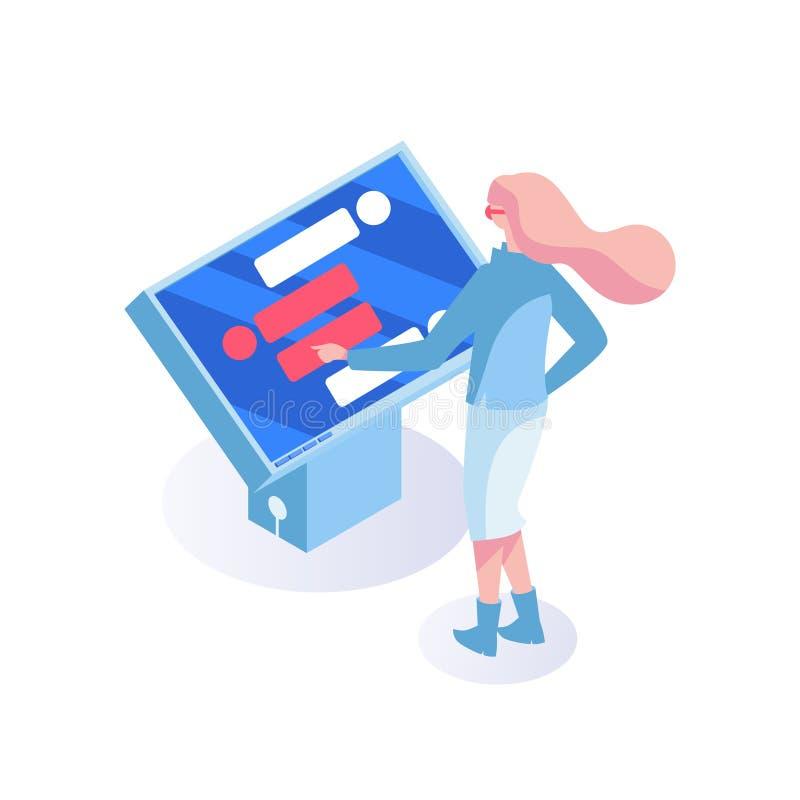 Ilustração lisa do vetor do gerente do cliente Gerente do apoio ao cliente, monitor interativo, digital Centro fêmea da ajuda ilustração stock