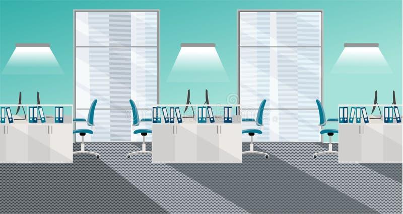 Ilustração lisa do vetor do interior moderno da sala do escritório com as grandes janelas no arranha-céus com mobília e computado ilustração royalty free