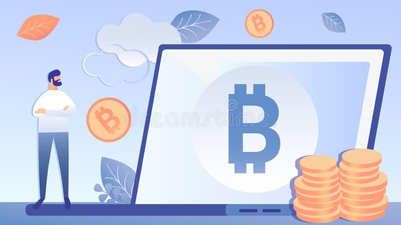 Ilustração lisa do vetor do investimento de Cryptocurrency ilustração do vetor
