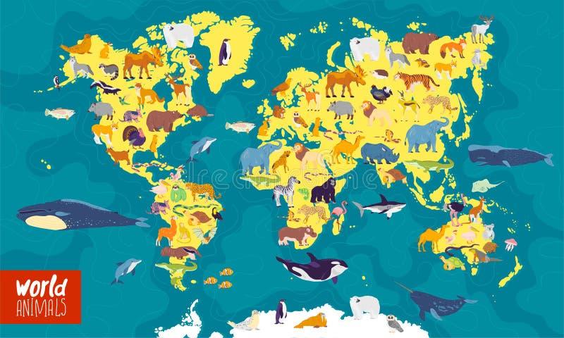 Ilustração lisa do vetor do mapa do mundo com mar, oceanos, continentes e animais & plantas locais ilustração royalty free
