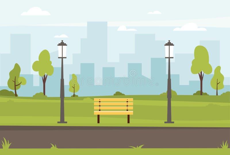 Ilustração lisa do vetor do parque público ilustração do vetor