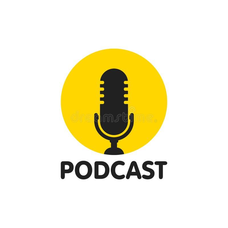 Ilustração lisa do vetor do Podcast, ícone, projeto do logotipo no fundo branco ilustração stock
