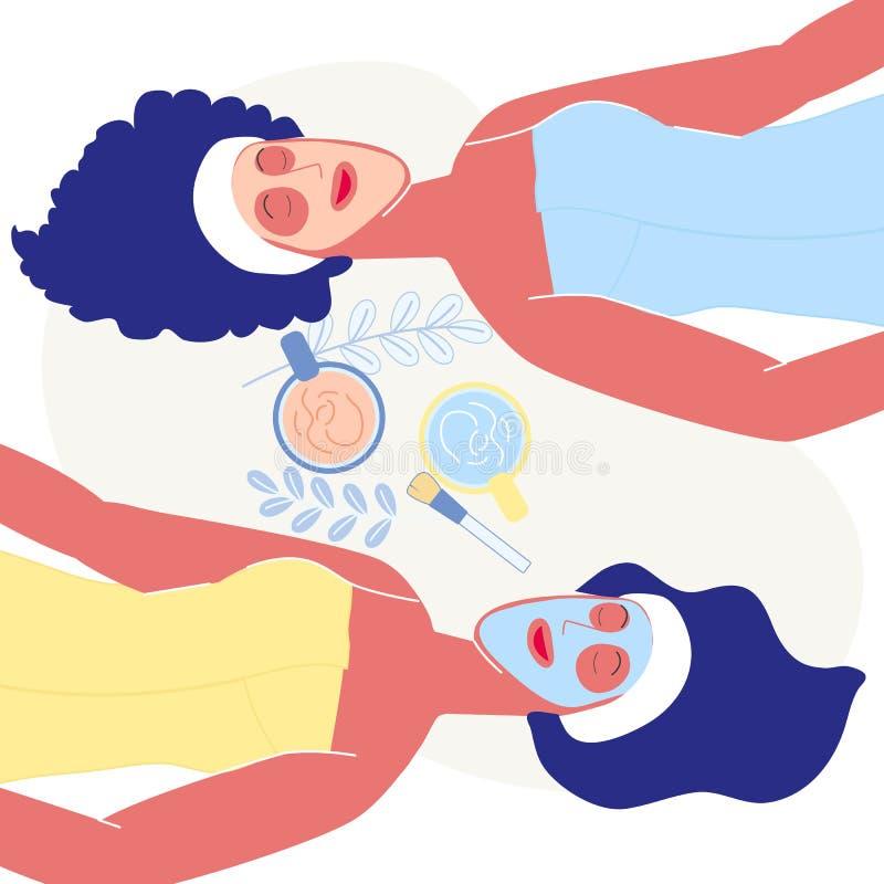 Ilustração lisa do vetor do procedimento do spa resort ilustração royalty free