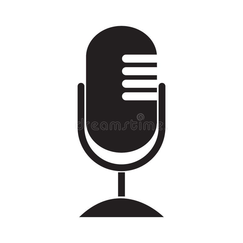 Ilustração lisa do vetor do projeto do ícone do microfone ilustração royalty free