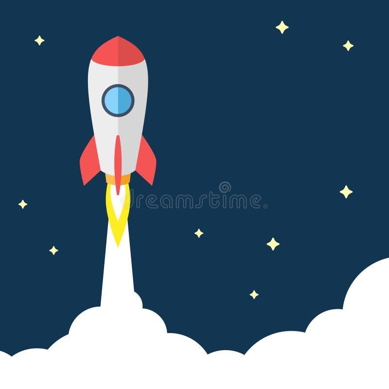 Ilustração lisa do vetor do projeto do conceito Startup Voo Rocket no fundo escuro ilustração royalty free