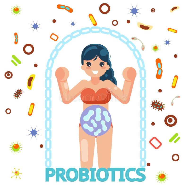 Ilustração lisa do vetor do projeto da medicina fêmea probiótico da proteção sanitária ilustração royalty free
